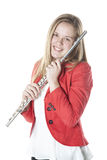 Teenage holds flute in studio Royalty Free Stock Photo