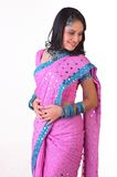 Teenage indian girl  with pink sari Stock Images