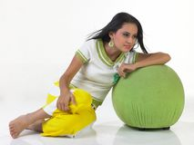 Teenage indian girl in a relaxed mood. With modern costume Stock Photos