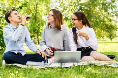 Teenage Kids Relaxing on Green Lawn. Group of happy students enjoying picnic on green lawn of school yard, drinking soda and using laptop Royalty Free Stock Photo