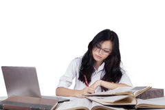 Teenage learner studying with books and laptop Royalty Free Stock Images