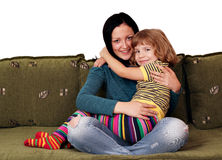 Teenage and little girl Stock Images