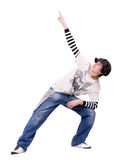 Teenage look up and raise hand for show something. Teenage boy dancing Locking or Hip-hop dance on isolated background. His look up and raise his hand with stock images
