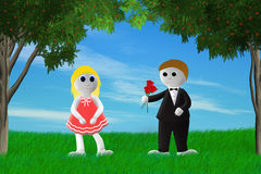 Teenage Love. Illustration of boy giving a girl a bouquet roses Royalty Free Illustration
