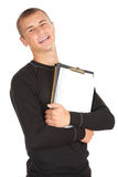 Teenage male student with blank clipboard. White background Royalty Free Stock Image