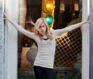 Teenage Model Posing in Urban Setting Stock Image