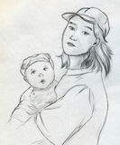 Teenage mother sketch Stock Photography