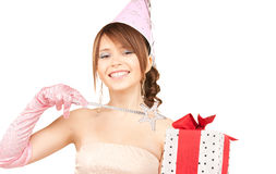Teenage party girl with magic wand and gift box Stock Images