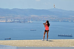 teenage photographer at gibraltar Royalty Free Stock Photo