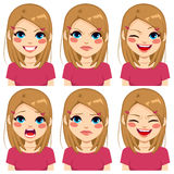 Teenage Pink Girl Face Expressions stock illustration