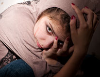 Teenage problems. Loneliness, violence, depression Royalty Free Stock Photo