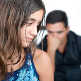 Teenage problems,teen girl and her worried father stock photos