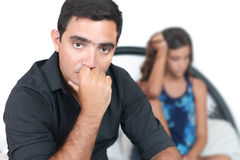 Teenage problems, Worried father and his daughter Royalty Free Stock Photography
