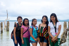 Teenage school girls in the Philippines Royalty Free Stock Images