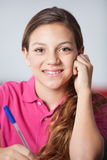 Teenage Schoolgirl In Classroom Stock Photos