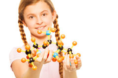 Teenage schoolgirl with molecular structure Royalty Free Stock Photography