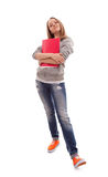 Snob. Teenage Schoolgirl on white background Stock Photo