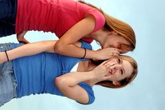 Teenage secret. Two teenage girls sharing a secret or gossip royalty free stock images