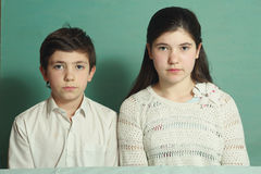 Teenage siblings brother and sister close up photo Stock Photo