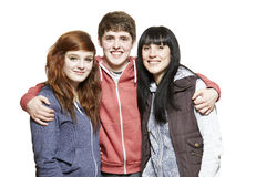 Teenage siblings smiling Stock Image
