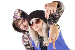 Teenage smiling rap couple. Stock Photos
