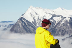 Teenage Snowboarder Admiring Mountain View Royalty Free Stock Photo