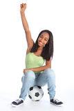 Teenage sports girl celebrates soccer success Royalty Free Stock Image