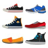 Teenage sports shoes. Colorful sneakers at different styles. Vector illustrations set in cartoon style. Teenage sports shoes. Colorful sneakers at different Royalty Free Stock Photography