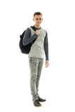 Teenage student with backpack on white Stock Photography