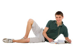 Teenage student with books and mp3 Royalty Free Stock Photo