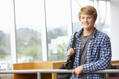 Teenage student boy indoors Stock Images