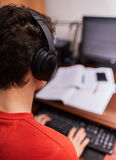 Teenage student doing homework Royalty Free Stock Photos
