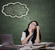Teenage student dreaming in the class Royalty Free Stock Images