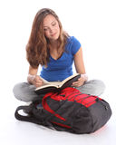 Teenage student girl reading school study book Stock Photos