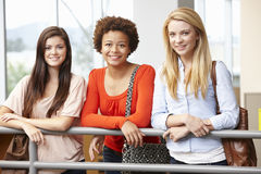 Teenage student girls indoors royalty free stock images