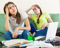 Teenage student girls study at home Royalty Free Stock Photography