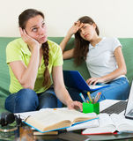 Teenage student girls study at home Stock Photos