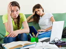 Teenage student girls study at home Royalty Free Stock Photo