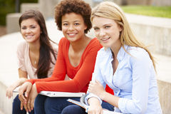 Teenage student girls working outdoors Royalty Free Stock Photo
