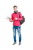 Teenage student holding bag and books Stock Photography