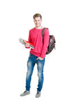 Teenage student  holding bag and books isolated on white Stock Images