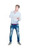 Teenage student holding a tablet computer isolated on white Royalty Free Stock Image