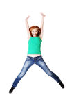 Teenage student jumping. Royalty Free Stock Photos