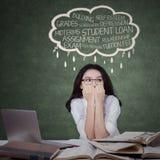 Teenage student looks stressed Stock Photo