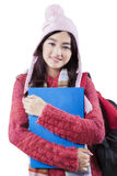 Teenage student with winter fashion Stock Image