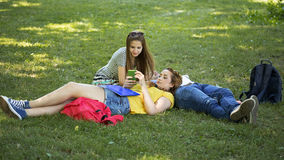 Teenage students. Enjoy in the park Royalty Free Stock Photography
