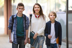Teenage students going to college Royalty Free Stock Photo