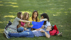 Teenage students. Group of college students, outdoors Stock Photography