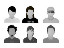 Teenage styles web avatars vector. Vectored illustration with six different avatars for every young style between the teenagers today, useful for all communities Royalty Free Stock Images