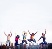 Teenage Success Team Jumping Cheerful Concept Royalty Free Stock Photography